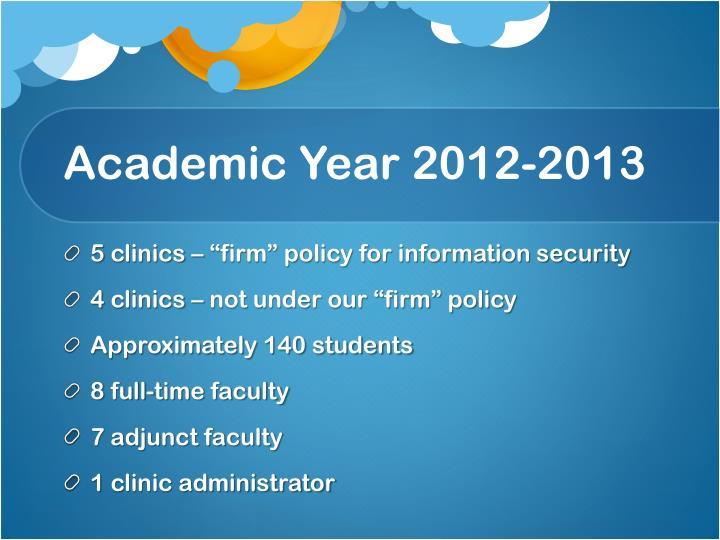 Academic year 2012 2013