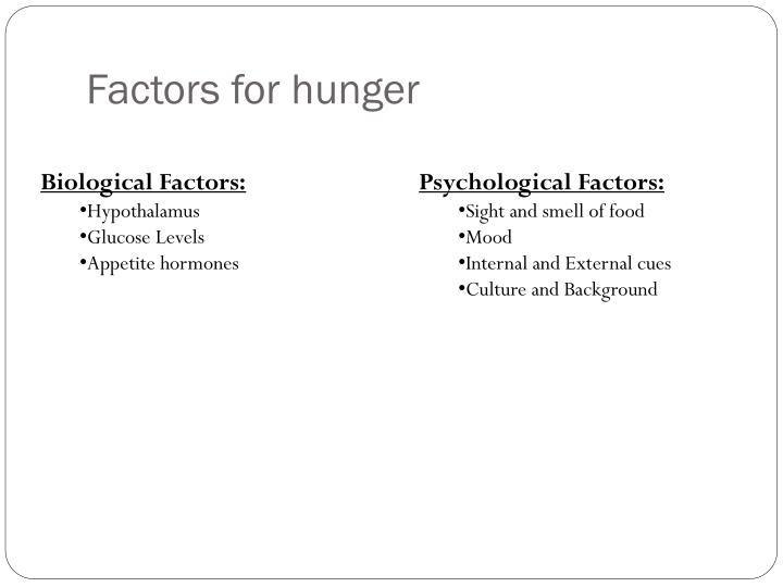 Factors for hunger