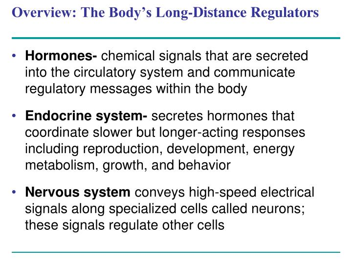 Overview the body s long distance regulators