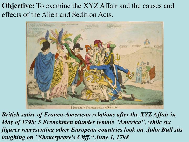 evaluating the original objectives of the alien and sedition acts in america