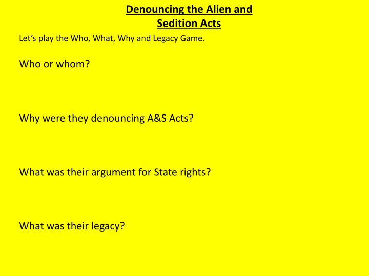 Denouncing the Alien and Sedition Acts