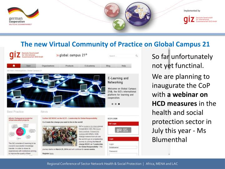 The new Virtual Community of Practice on Global Campus 21