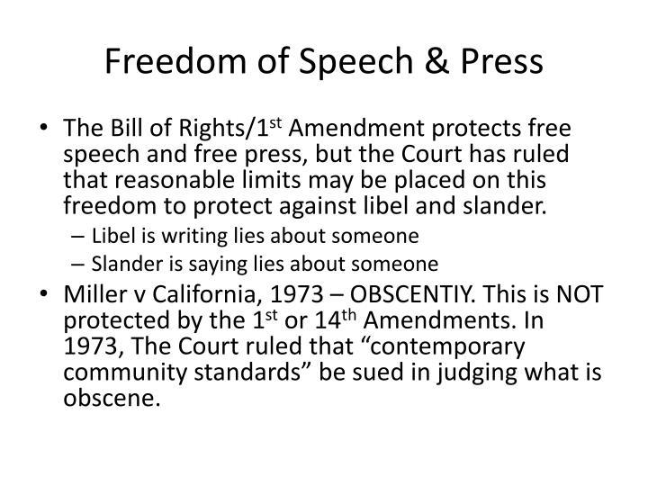 Freedom of Speech & Press