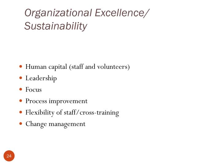 Organizational Excellence/ Sustainability
