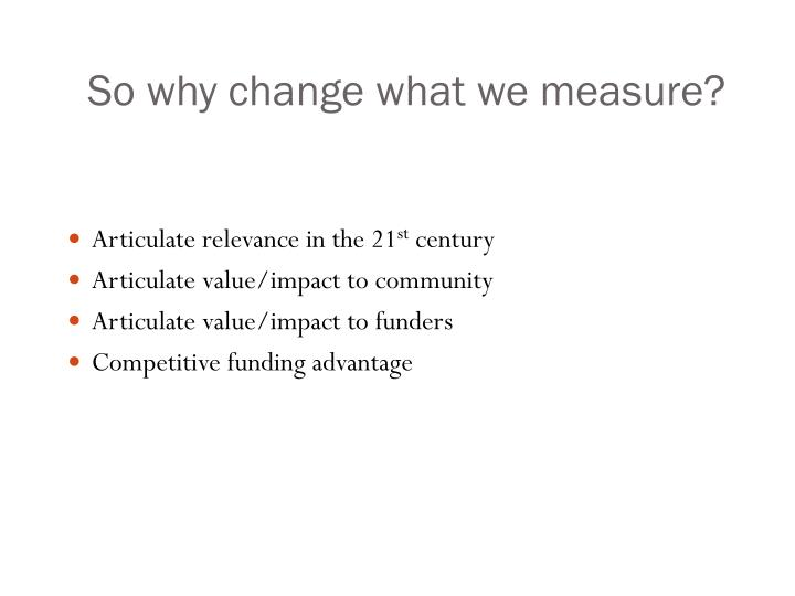 So why change what we measure?