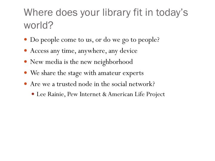 Where does your library fit in today's world?