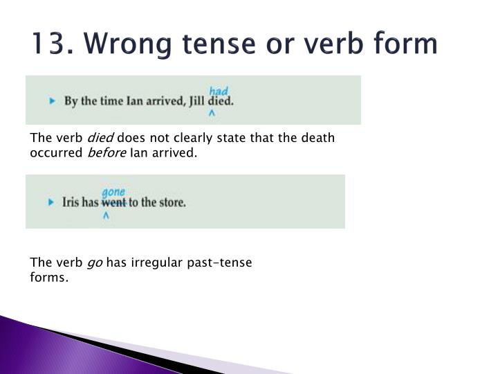 13. Wrong tense or verb form