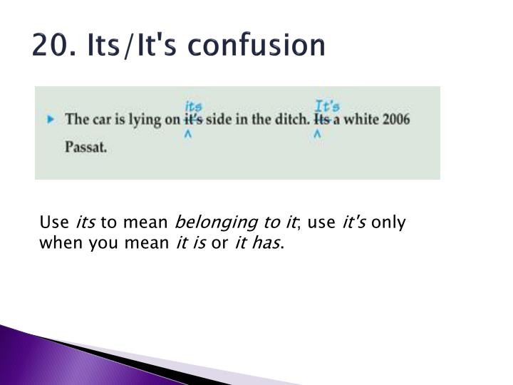 20. Its/It's confusion