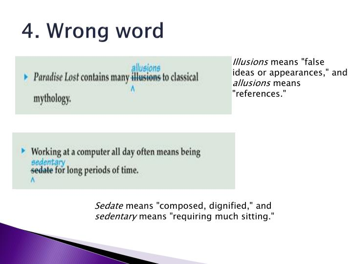 4. Wrong word