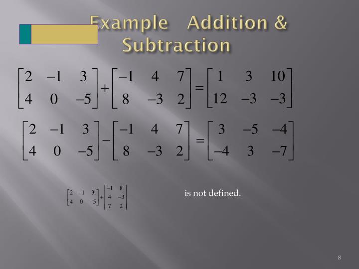 Example   Addition & Subtraction