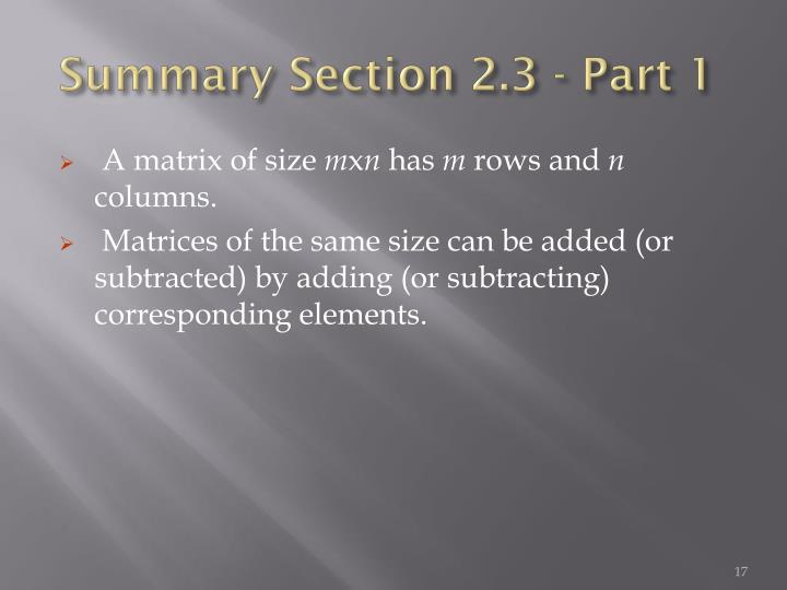 Summary Section 2.3 - Part 1