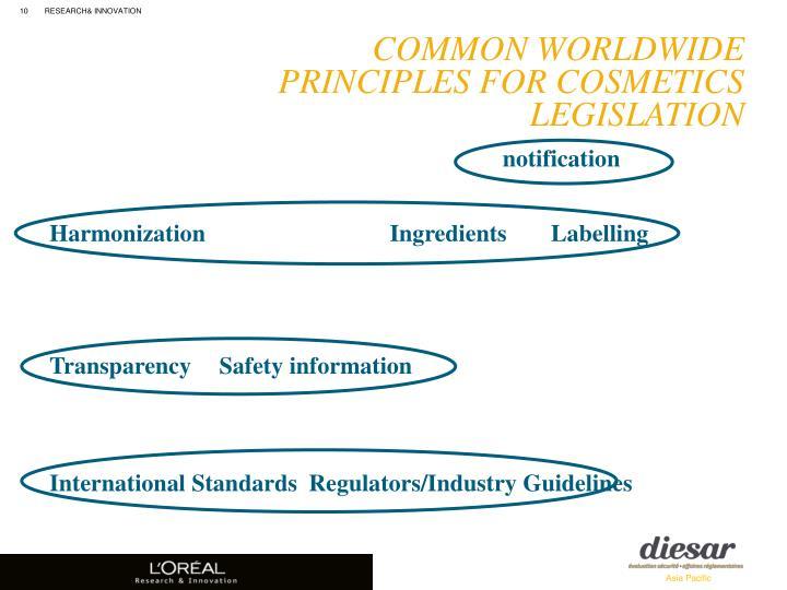 Common Worldwide Principles for Cosmetics Legislation