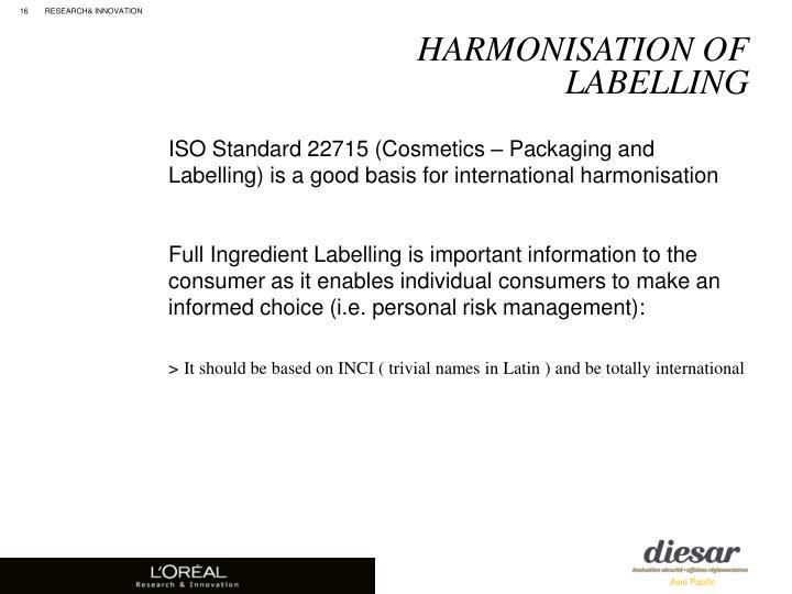 Harmonisation of labelling