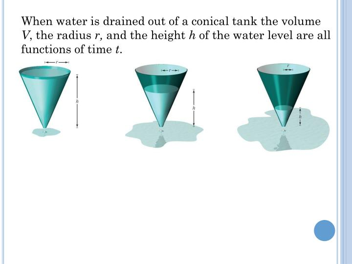 When water is drained out of a conical tank the volume