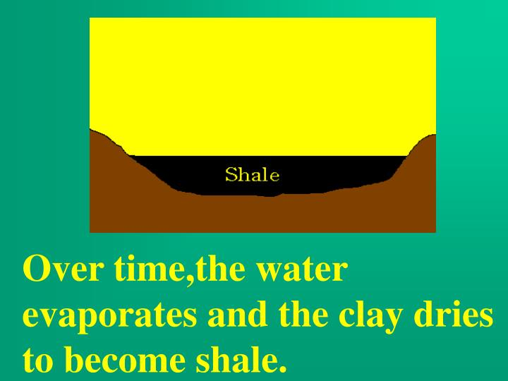 Over time,the water evaporates and the clay dries to become shale.