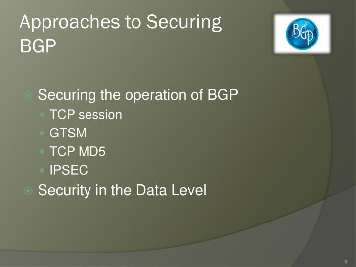 Approaches to Securing BGP