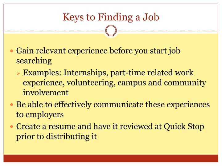 Keys to Finding a Job