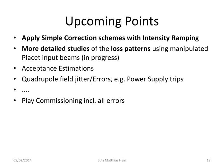 Upcoming Points