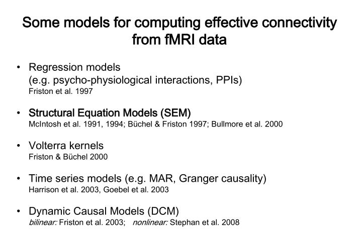 Some models for computing effective connectivity from fMRI data