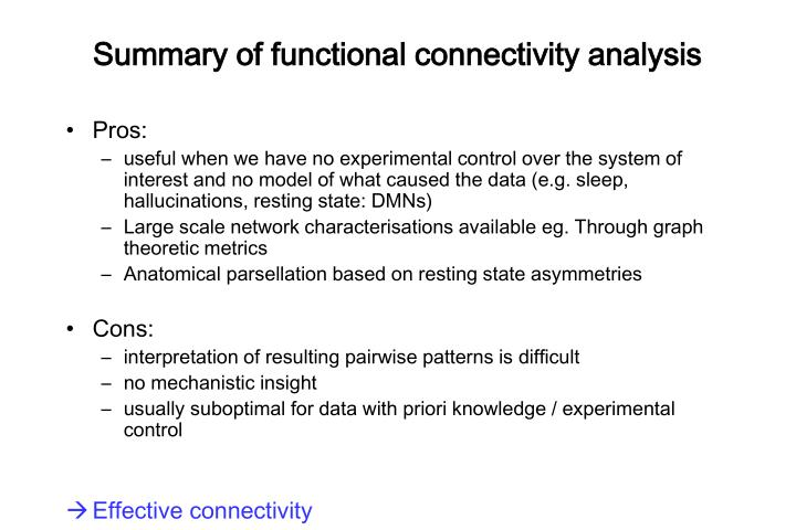 Summary of functional connectivity analysis