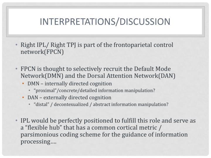 Interpretations/Discussion