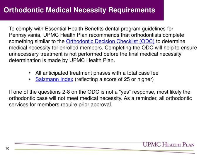 Orthodontic Medical Necessity Requirements