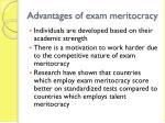 advantages of exam meritocracy