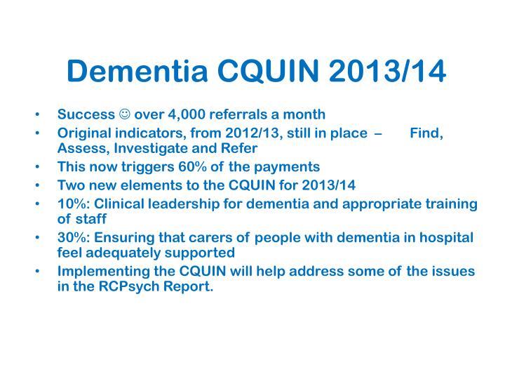 Dementia CQUIN 2013/14
