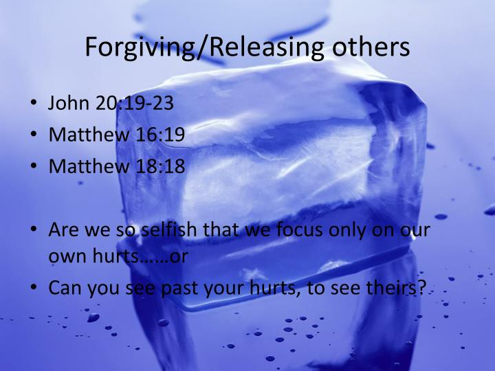 Forgiving/Releasing others