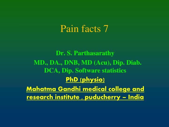 pain facts 7 n.