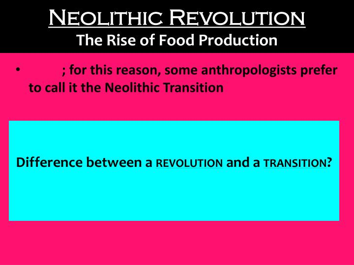 Neolithic revolution the rise of food production
