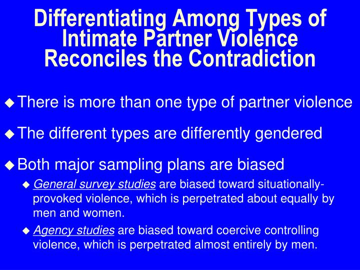 Differentiating Among Types of Intimate Partner Violence