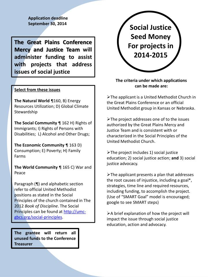 Social justice seed money for projects in 2014 2015