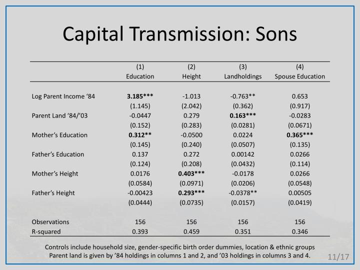 Capital Transmission: Sons