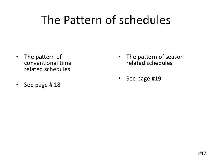 The Pattern of schedules