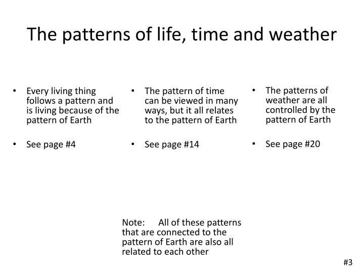 The patterns of life, time and weather