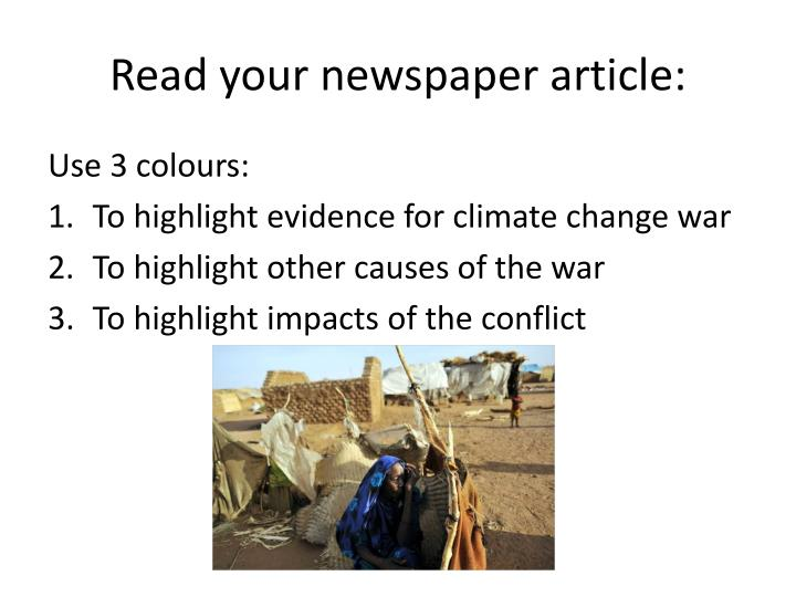 Read your newspaper article: