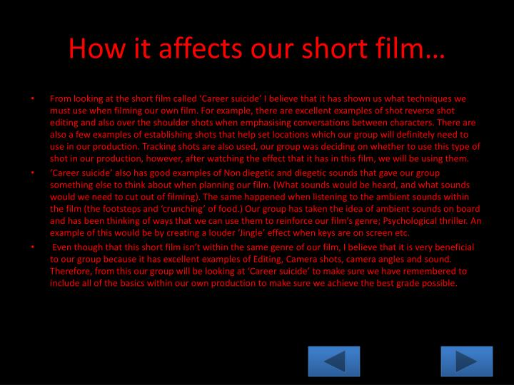 How it affects our short film…