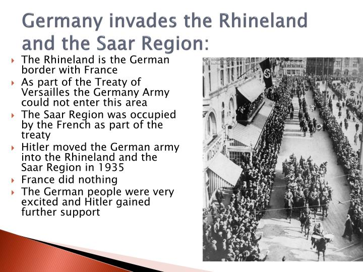 Germany invades the Rhineland and the Saar Region: