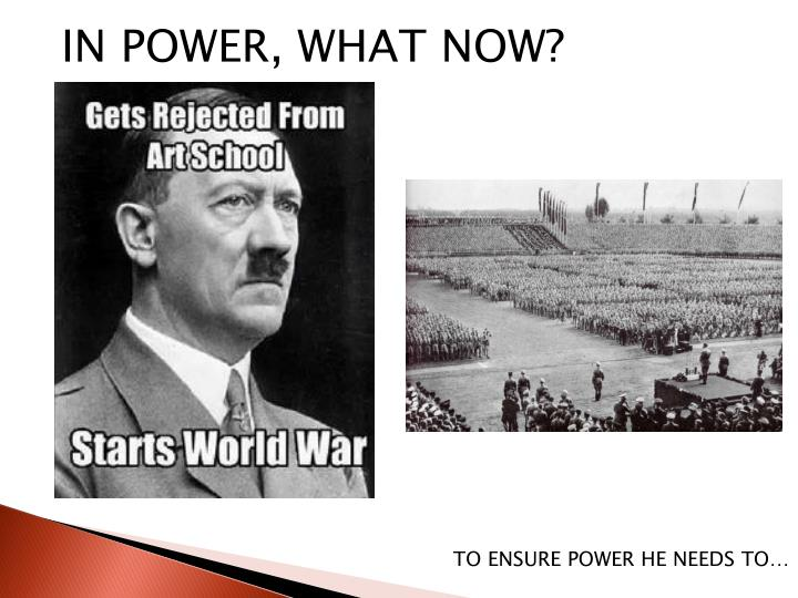 IN POWER, WHAT NOW?