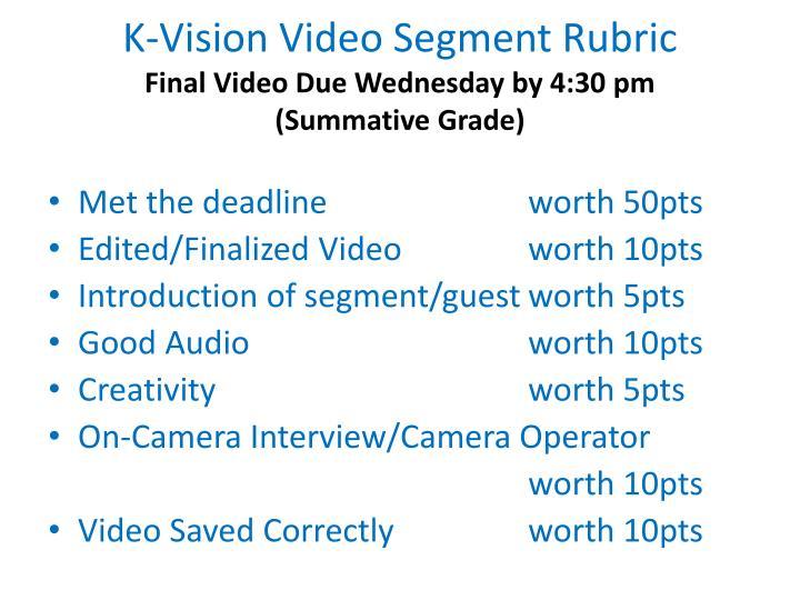 K-Vision Video Segment Rubric