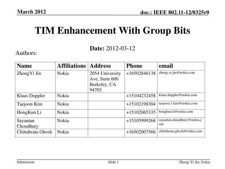 tim enhancement with group bits n.