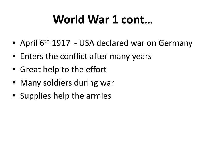 World War 1 cont…