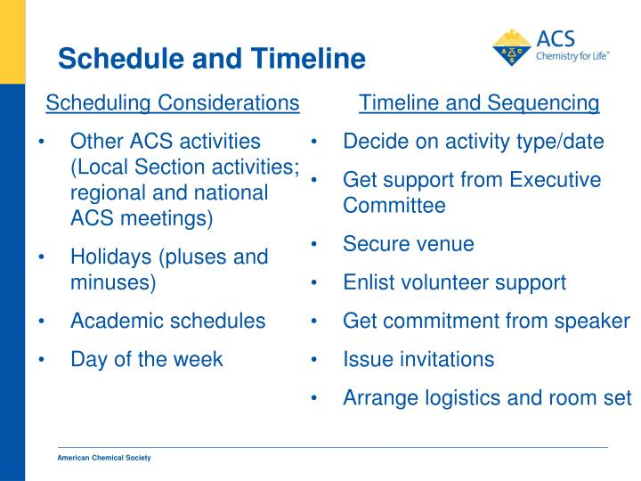 Schedule and Timeline