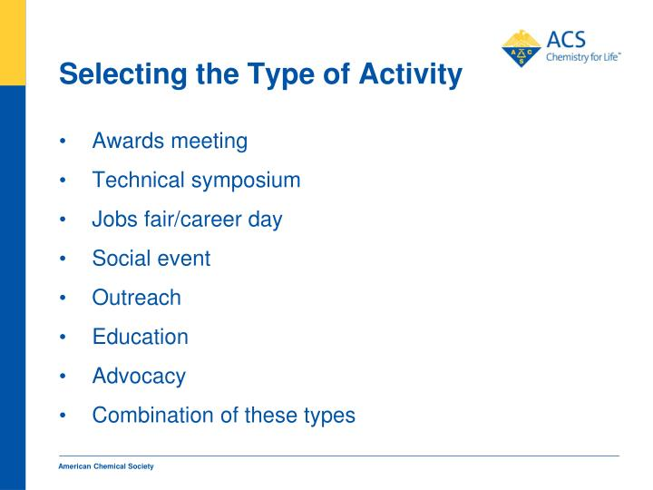 Selecting the Type of Activity