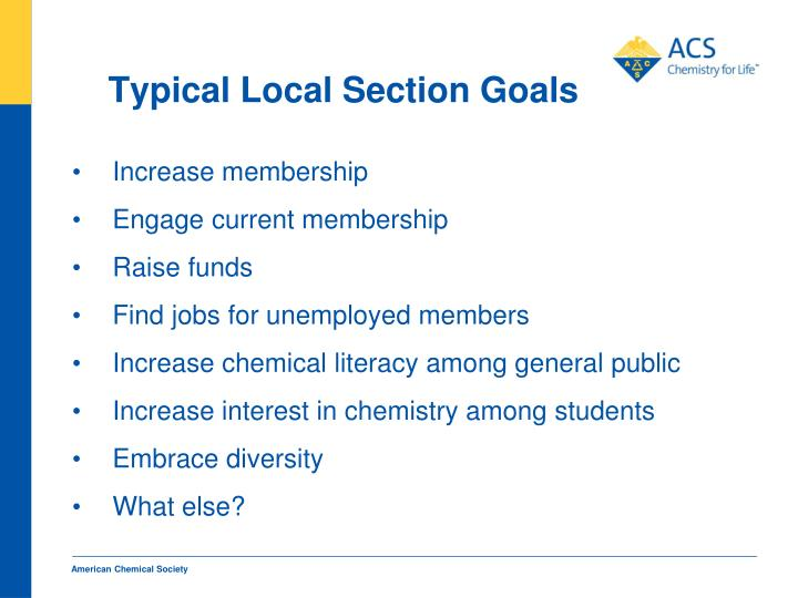 Typical Local Section Goals