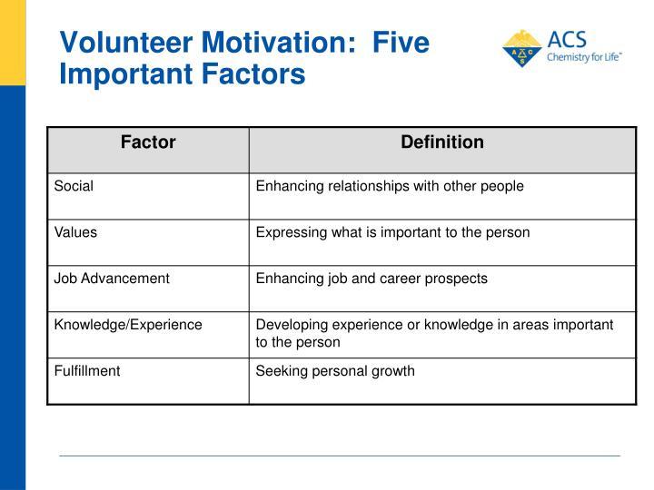 Volunteer Motivation:  Five Important Factors
