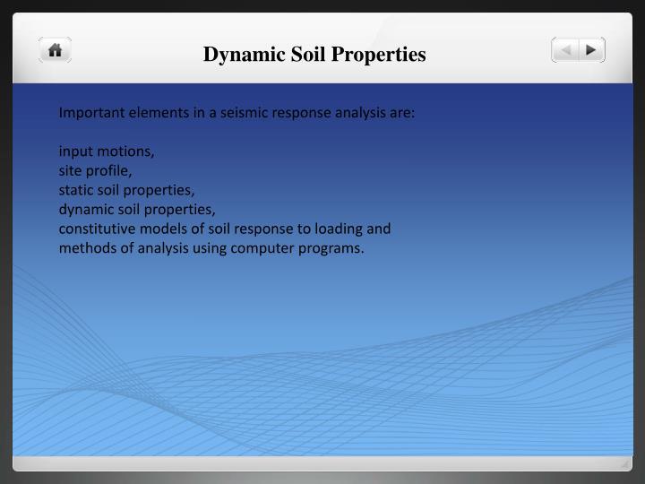 Dynamic Soil Properties