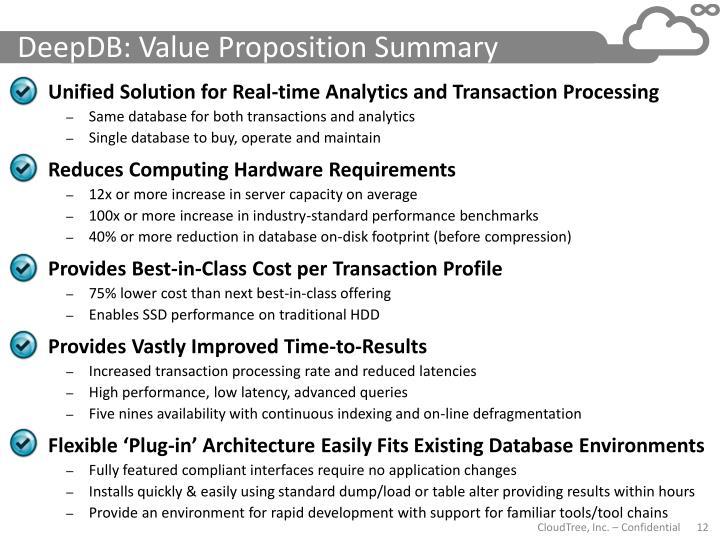 DeepDB: Value Proposition Summary