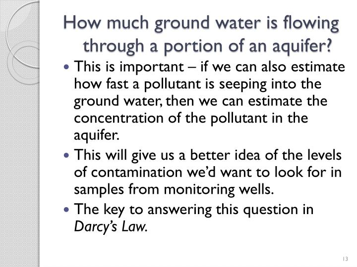 How much ground water is flowing through a portion of an aquifer?